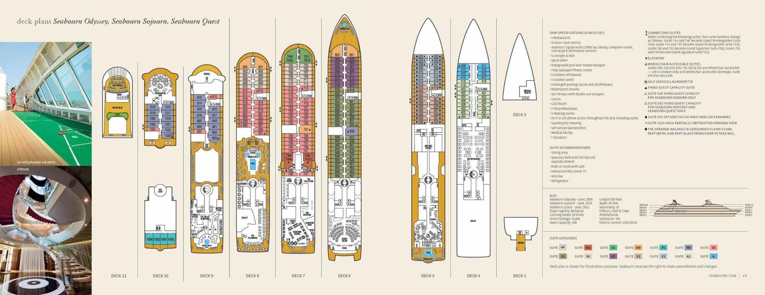 Seabourn Odyssey, Sojourn, Quest - Deck Plan