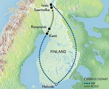 Finland: Helsinki & Lapland - map
