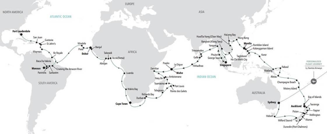 Silversea World Cruise 2023 - map